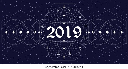 vector illustration of zodiac circle stylized as new year 2019 horizontal background with white thin lines on night sky background