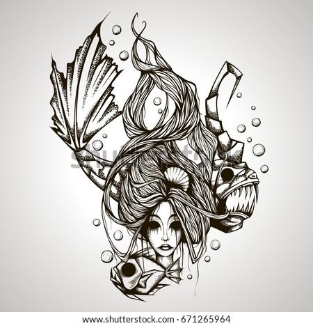 Vector Illustration Zodiac Sign Pisces Girl Stock Vector Royalty