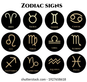 vector illustration of zodiac signs in black and gold