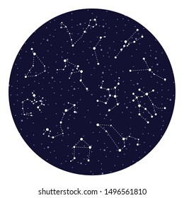 vector illustration of zodiac signs constellations on night sky circle background