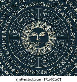 Vector illustration of the Zodiac signs in retro style with Sun and magic runes written in a circle on a black background. Hand-drawn banner with twelve horoscope symbols for astrological forecasts