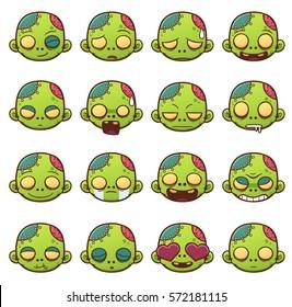 Vector illustration of Zombie face emoticons set. Emoji icons