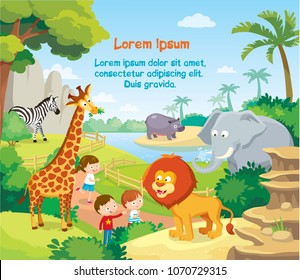 Vector illustration with zoo