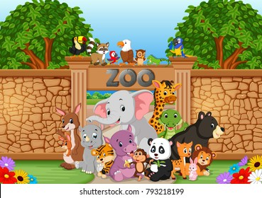 vector illustration of zoo and animals in a beautiful nature