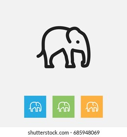 Vector Illustration Of Zoo Symbol On Elephant Outline. Premium Quality Isolated Trunked  Element In Trendy Flat Style.