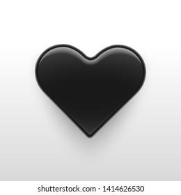 Vector Illustration,3d Black glossy heart