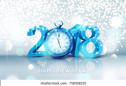 Vector illustration.3d blue digits 2018, with an old clock instead of zero on a bright, luminous background.Holiday background for the new year.Element for the design of a greeting card for  New Year