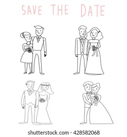 vector illustration-4 sets of wedding couple. bride and groom are in love.hand lettering save the date included.