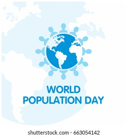 Vector illustration,banner or poster of world population day. People circled around blue Globe. White Background.