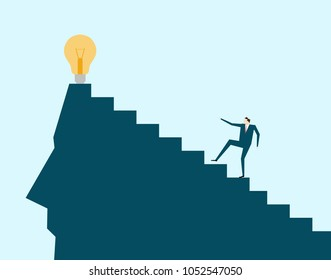 Vector illustration,Business people climbing, pursuing wonderful ideas and ideas