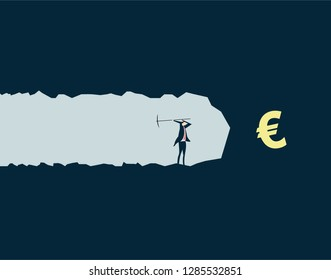 Vector illustration,Businessman mining treasures, pursuing wealth and currency symbols,euro