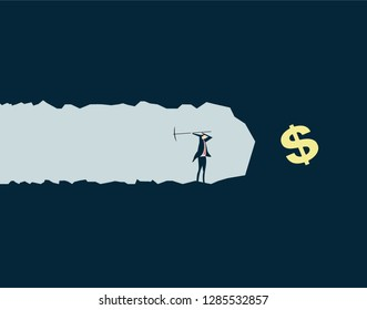 Vector illustration,Businessman mining treasures, pursuing wealth and currency symbols,dollar