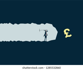 Vector illustration,Businessman mining treasures, pursuing wealth and currency symbols,pound