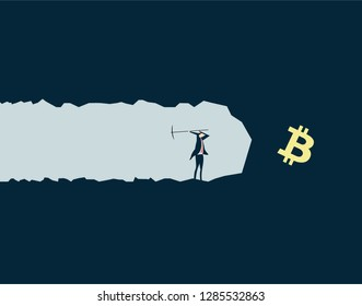 Vector illustration,Businessman mining treasures, pursuing wealth and currency symbols,bitcoin