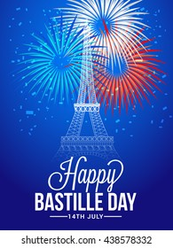 Vector illustration,card,banner or poster for the French National Day.Happy Bastille Day.
