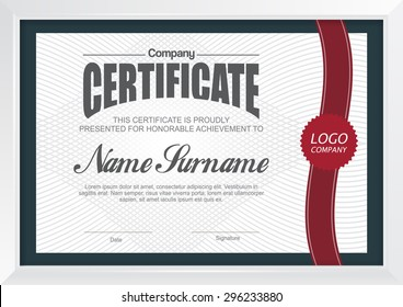 Vector illustration,certificate template with clean and modern pattern