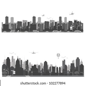 Vector illustration.City skyline and urban traffic