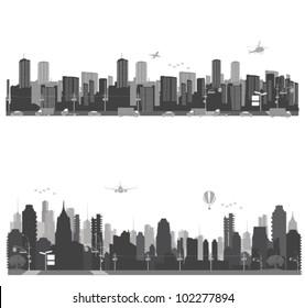 Vector illustration.City skyline and urban traffic