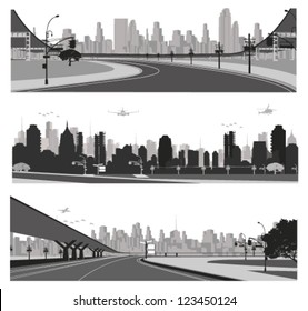 Vector illustration.City traffic.Bridge highway and skyline  silhouette