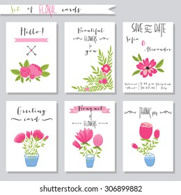 Vector illustration.Collection of cute card templates with flowers. Wedding, marriage, save the date, baby shower, bridal, birthday, Valentine's day, Mother's day. Stylish simple design.