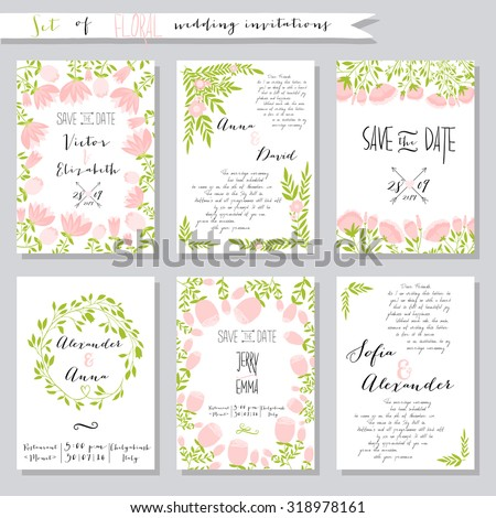 vector illustration collection wedding invitation templates pink の