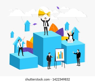 Vector illustration.Development, Path to achieve the goal. Team work. Motivation. Move up. Way to success. Career growth. The way to achieve the goal. All elements are isolated. EPS 10.