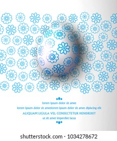 Vector illustration.Easter egg with blue pattern on a floral background. Design element, template wallpaper, flyers, invitation, brochure, greeting card.