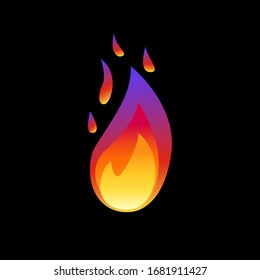 Vector illustration.Fire flame icon isolated on black background. Energy concept. Perfect for web site page, mobile app, game design ,badge, poster, cover,print, flyer, ad.Flat Style.