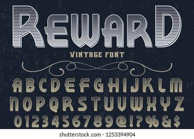 Vector illustration,font script typeface vector named vintage reward