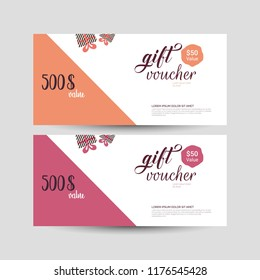 Vector illustration,Gift voucher template with clean and modern pattern.