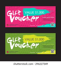 Vector illustration,Gift voucher template with colorful pattern.