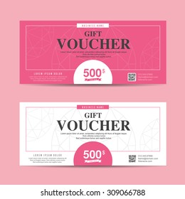 Vector illustration,Gift voucher template with colorful pattern,cute gift voucher certificate coupon design template
