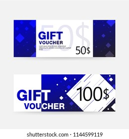 Vector illustration,Gift voucher template with geometric pattern,cute gift voucher certificate coupon design template