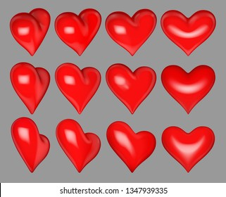 Vector Illustration,Glossy red hearts 12 different rotation angles on grey background