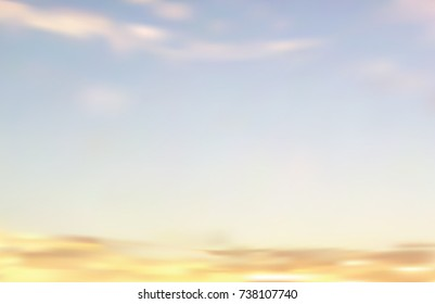 A vector illustration(gradient mesh) of wispy sky with low yellow and orange clouds floating near  the horizon.  Perfect for sunsets,  deserts, and seascapes. Scalable into  infinity 11x17 ratio.