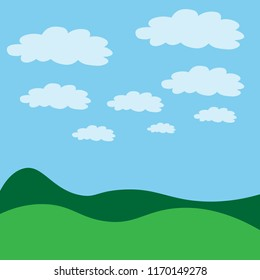 Vector illustration.Green landscape with blue sky and clouds.