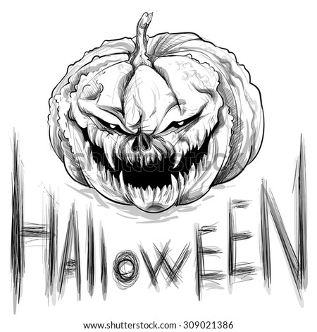 Vector Illustration Hand Drawing Wicked Pumpkin Halloween Stock