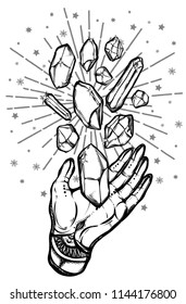 Vector illustration.Hand, magic crystals, mysticism, tattoos. Handmade, prints on T-shirts, background white