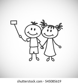 Vector illustration.Hand-drawn boy and girl make selfie (cartoon doodle)