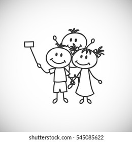Vector illustration.Hand-drawn children make selfie (cartoon doodle)