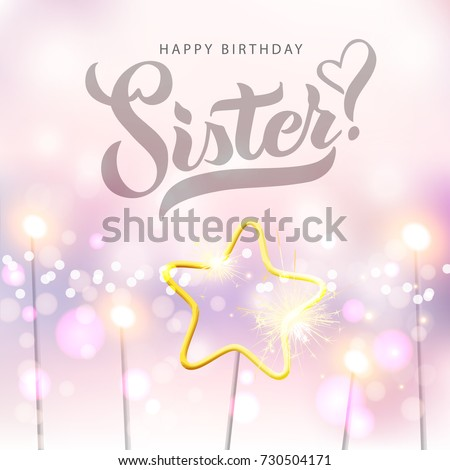 Vector Illustration Happy Birthday Sister Typography Vector Stock
