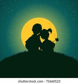 Vector illustration,kids under the moonlight, cartoon concept.