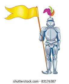 vector illustration-knight in shining armour in his hand, on white background