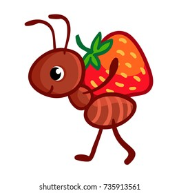 Vector illustrationmant with strawberry isolated on white background. Cute insect in the children's cartoon style.