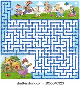 Vector illustration,maze, show the little animals the road to school, card concept.