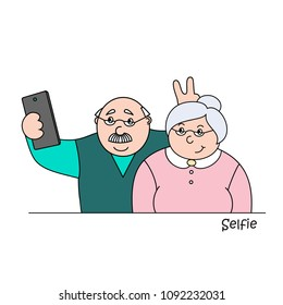vector illustrationold happy old  man and old lady making selfies on the phone,family photo portrait of grandparents,cartoon design