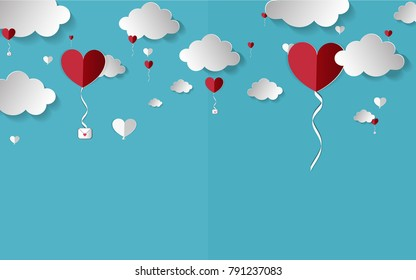 Vector illustration.paper craft style. love for Valentine's day. and  big heart and mini heart  on blue background with. design for valentine's festival .