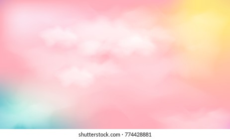 Vector illustration.Pastel color sky and clounds abstract background.