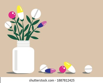 Vector illustration-pills growing on stems from a medicine jar close-up isolated. The concept of alternative medicine and homeopathy