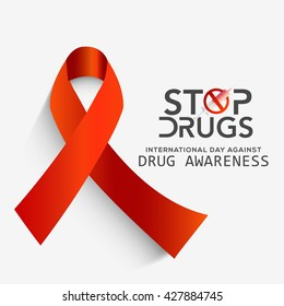 Vector illustration,poster or banner for International Day against Drug Abuse with awareness ribbon.